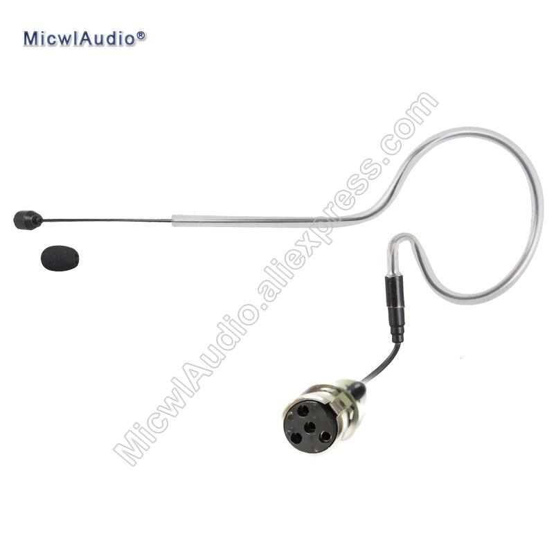 Auriculares individuales con gancho para la oreja, micrófono para conferencias, auriculares de 4 pines XLR Mini para Shure TA4F, SE-002 MicwlAudio negro