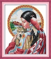 beautiful indian girl printed canvas dmc counted chinese cross stitch kits printed cross stitch set embroidery needlework