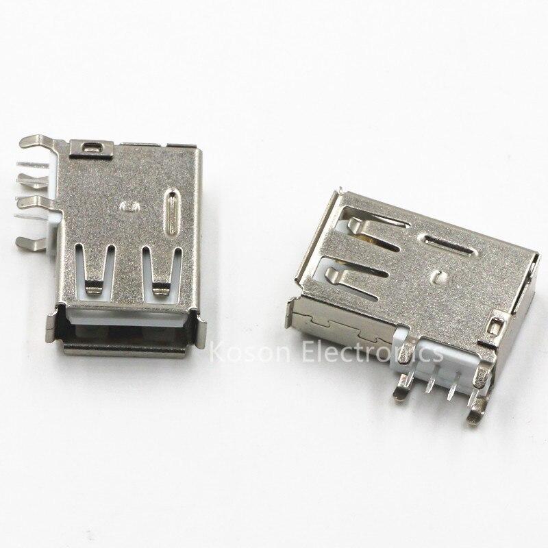 10 pces usb tipo-um fêmea pcb montagem soquete conector de alta qualidade vertical usb um conector fêmea tomada jack 90 graus