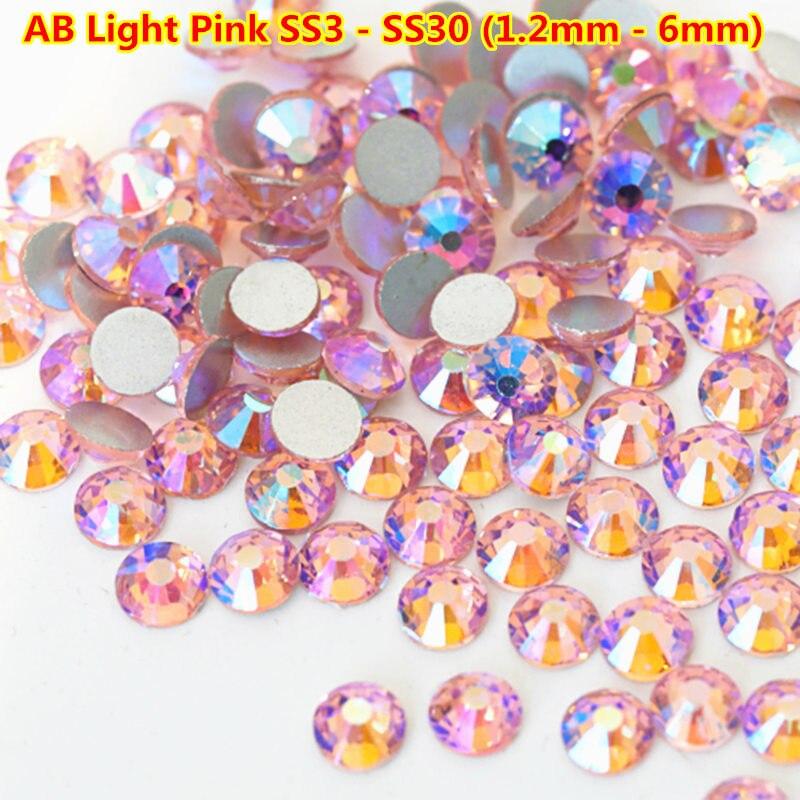 1440pcs/bag Light rose AB Pink Flat Back Non Hot fix Rhinestone Nail Art crystals Swarovsky Non hot fix DIY 3d Nail Decorations