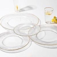 plate gold edge european handmade glass dish hotel transparent glass tableware western dish christmas