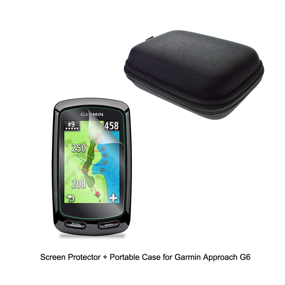Bolsa de Estuche portátil protectora para viajes al aire libre + Protector de pantalla transparente película protectora para Garmin GPS acercamiento G6 Golf GPS