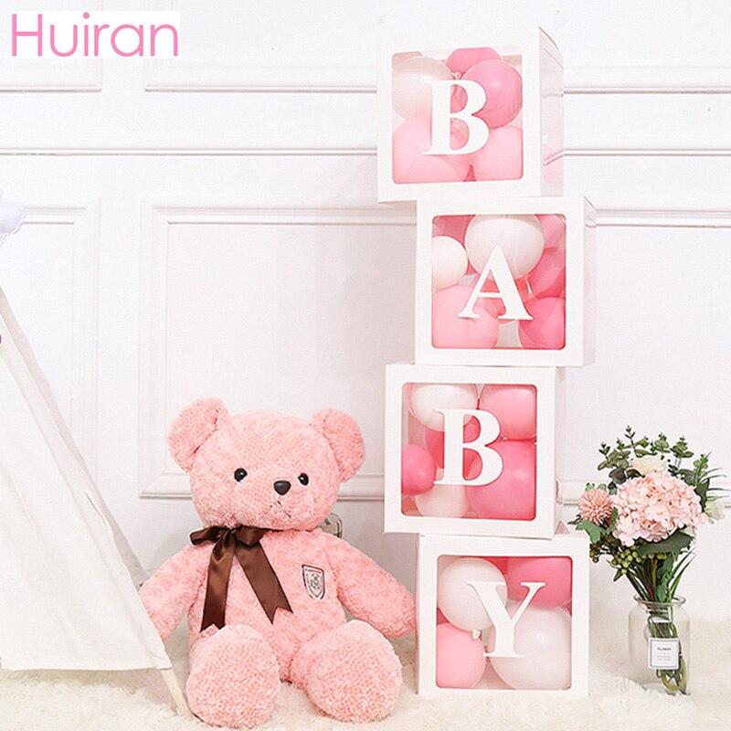 HUIRAN BABY Name Box Baby Shower Girl Boy Decor 1st Birthday Party Decor 1 Year Girl Happy Birthday Party Decor Kids Babyshower
