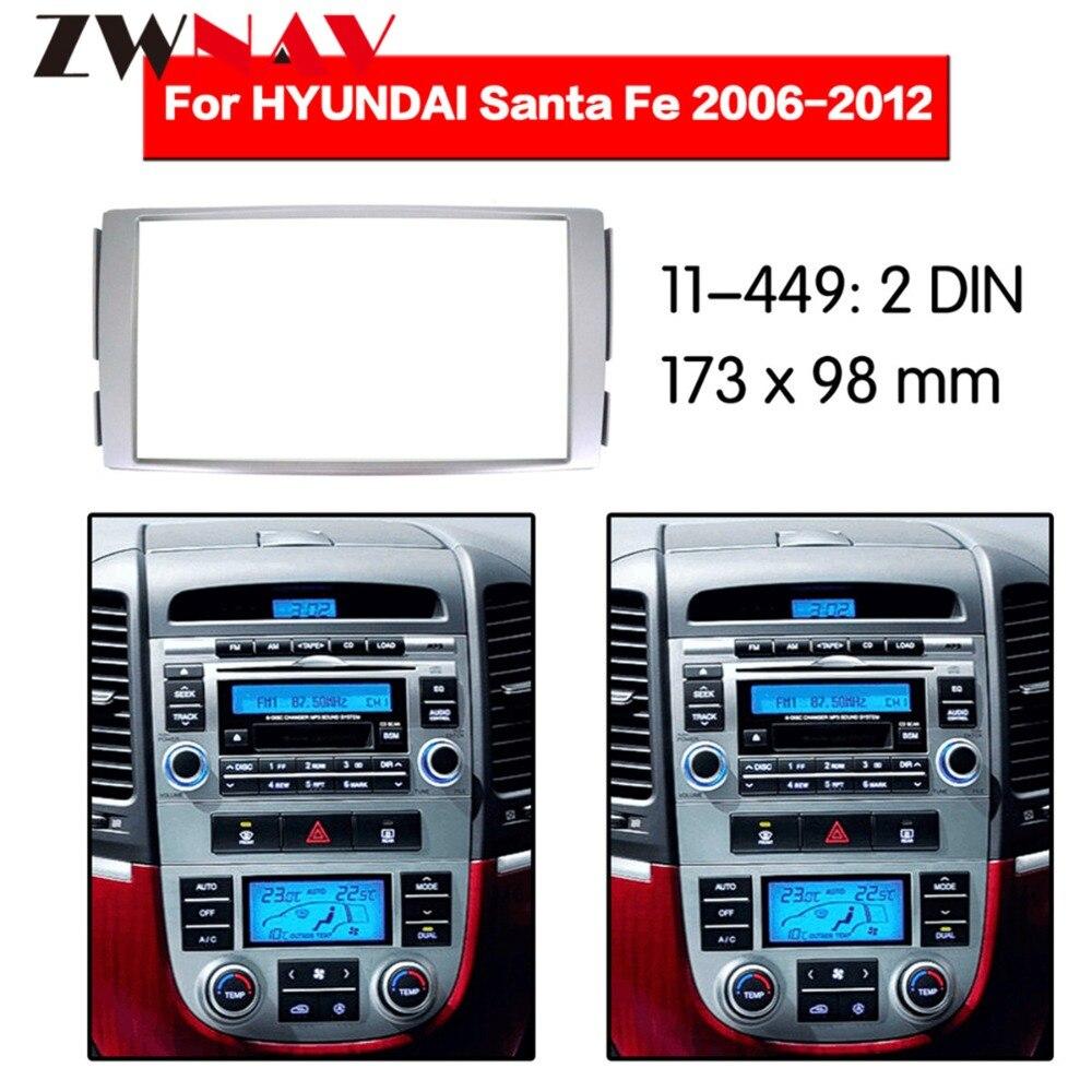 Marco de reproductor de DVD de coche para HYUNDAI SANTAFE 2 Din 2006-2012, Radio Multimedia NAVI fascia negra AC LHD RHD