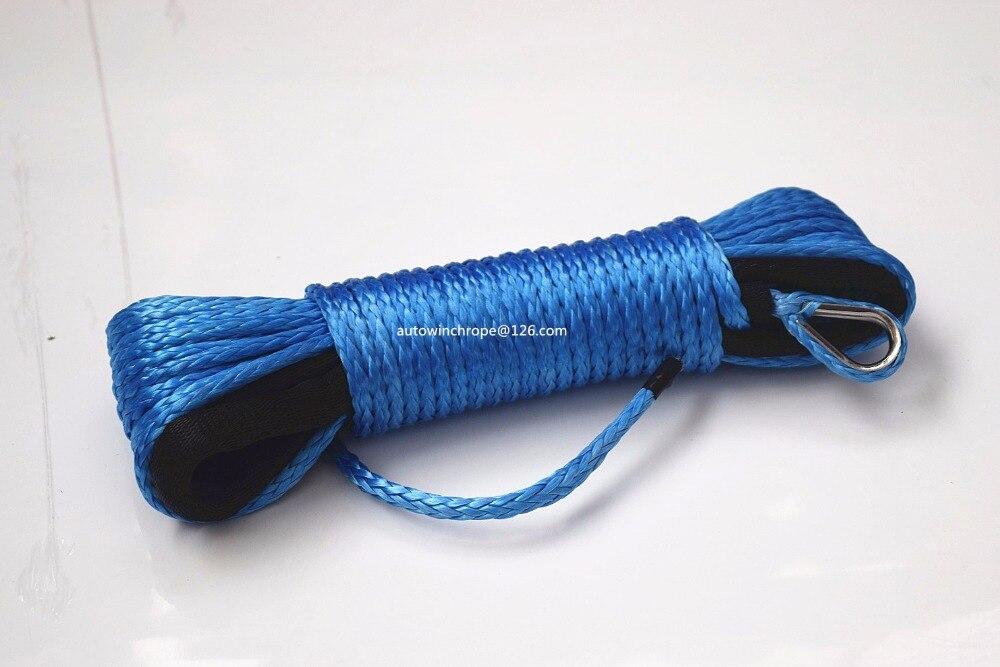 "Frete grátis azul 3/16 ""* 50ft corda sintética do guincho, linha guincho atv, cabo do guincho do barco 4500lbs para acessórios do guincho, corda kevlar"