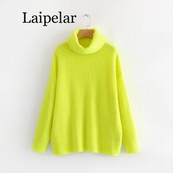 Laipelar camisola de néon feminino malha verde fúcsia sólido gola alta pullovers longo casual inverno solto
