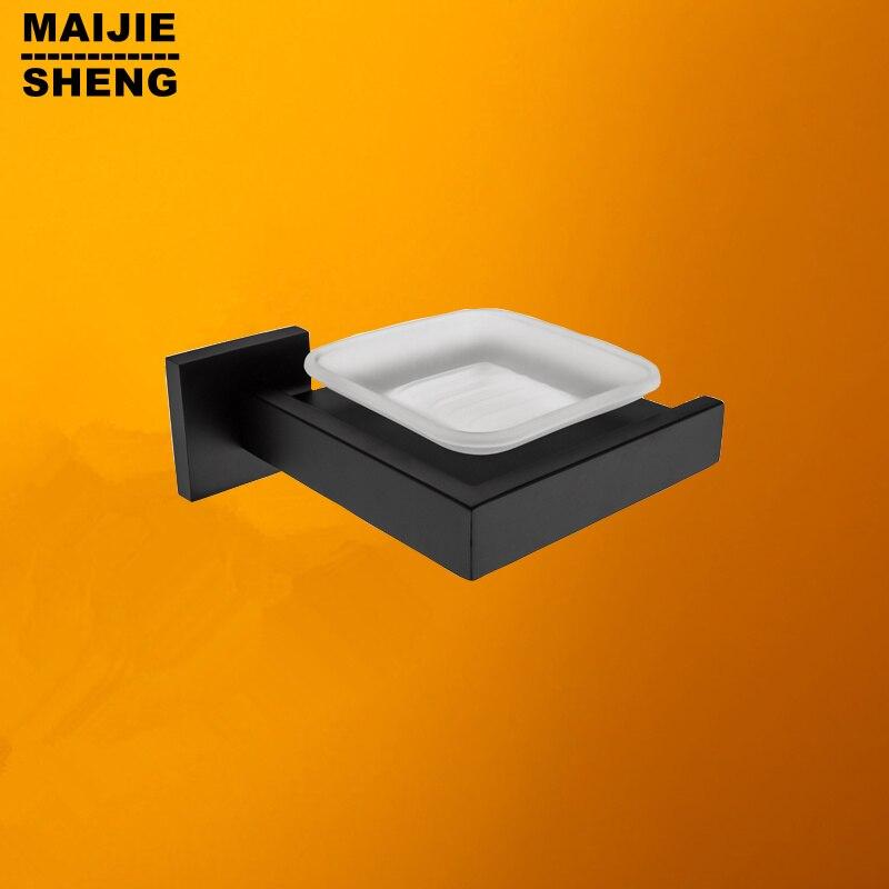 أطباق صابون الحمام من الفولاذ المقاوم للصدأ ، حامل صابون أسود ، جوقة ، صحن صابون ، ملحقات أجهزة الحمام