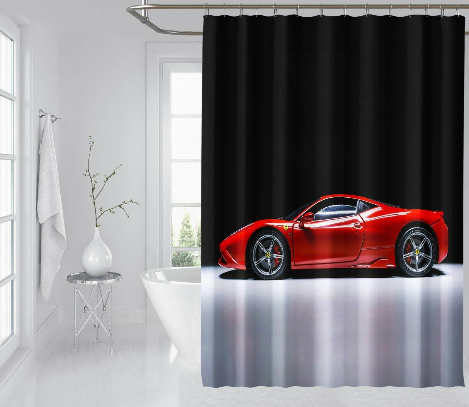 3D rojo deportes coche ducha cortina impermeable fibra baño ventanas inodoro