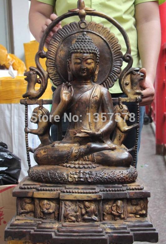 Shitou 00362 Tibetana Fane Cobre Bronce Amitabha Shakyamuni Tathagata Sakyamuni Buda Estatua