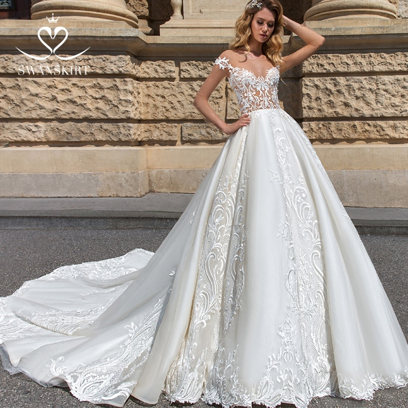 Vestido De novia Línea A con hombros descubiertos 2019 vestido De novia princesa con apliques Sweetheart F184