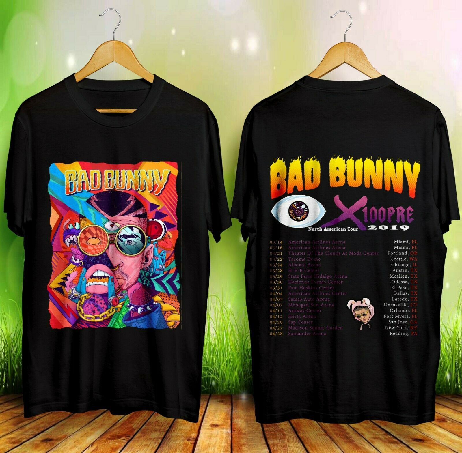 Nueva camiseta negra para hombre BAD BUNNY Tour 2019 con citas talla S-3XL