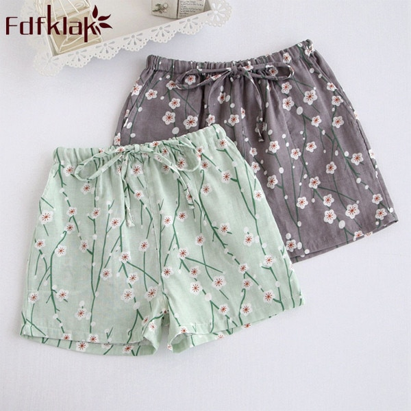 Ladies Homewear Bottom Pyjama Sleep Bottoms 100% Cotton Sleepwear For Women Summer New Short Print Pajama Pants Women Q179