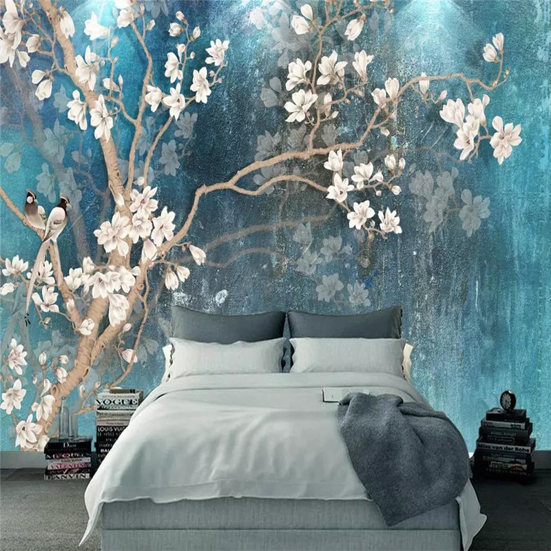Chinese style hand-painted magnolia bird background wall professional production wallpaper mural wall covering photo wallpaper professional 10x20ft hand painted column arch scenic muslin photo backdrop background customized service size photos