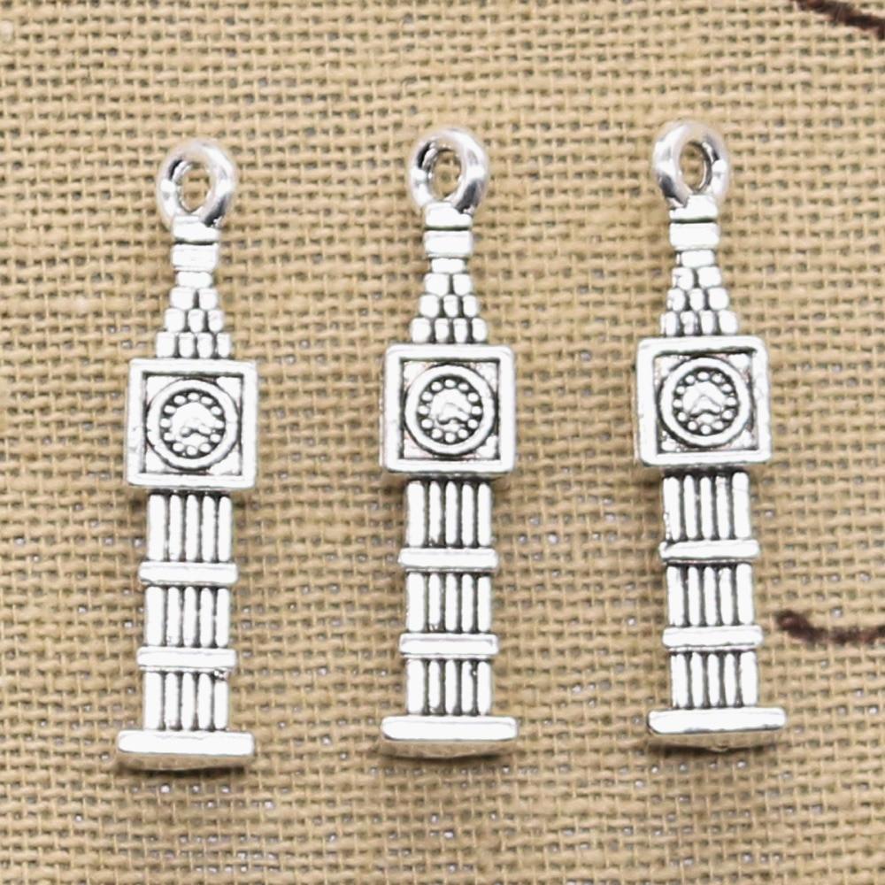 5 pièces breloques Big Ben 3D horloge 27x5x5mm Antique faisant pendentif ajustement, couleur argent Bronze tibétain Vintage, bijoux faits à la main bricolage