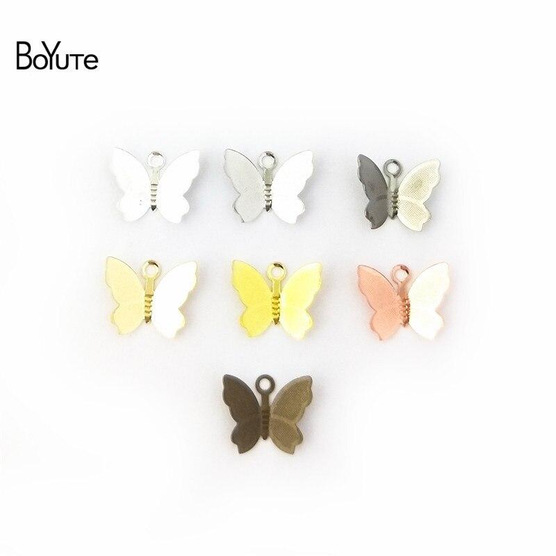 BoYuTe 100 шт 11*13 мм бабочки Подвески Diy ручной работы металлические латунные аксессуары части для изготовления ювелирных изделий для волос