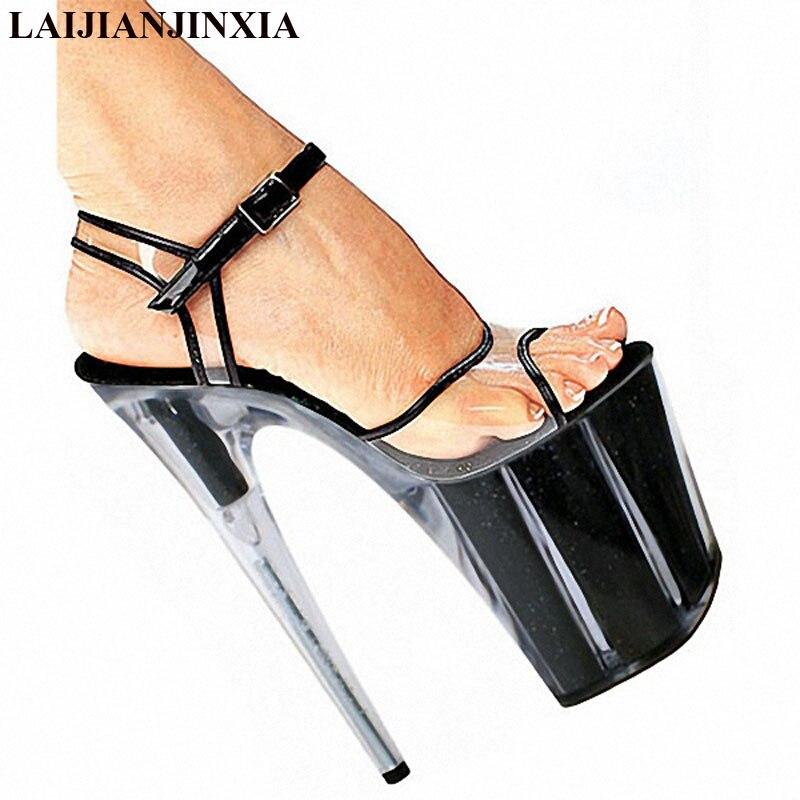 LAIJIANJINXIA, nuevos zapatos de mujer, sandalias de plataforma de PVC, zapatos de baile de barra, zapatos de tacón alto de 8 pulgadas, zapatos de baile para discoteca, E-092