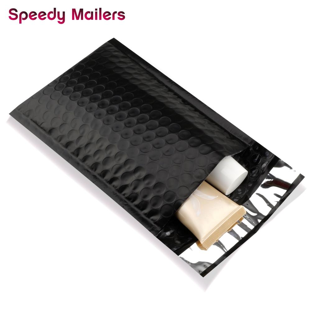 Correo rápido 10 uds/4x7-Inch/120*180mm negro Poly Bubble Mailer sellar sobres acolchados/bolsas negras de envío