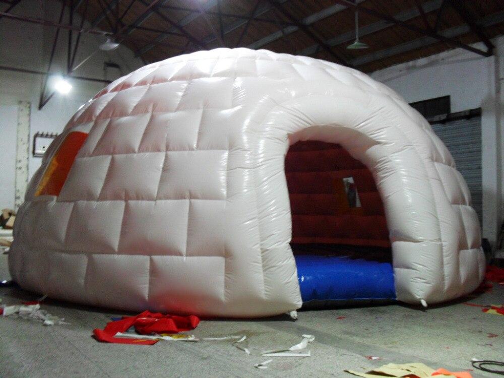 PVC exterior blanco iglú cúpula geodésica fiesta inflable