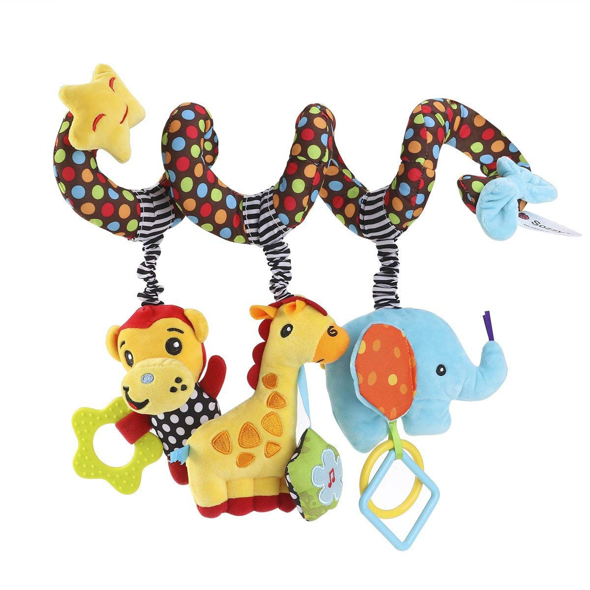 Sozzy música juguete del bebé cuna cama cochecito de espiral decoración juguete animal bebé sonajero 30 cm W514