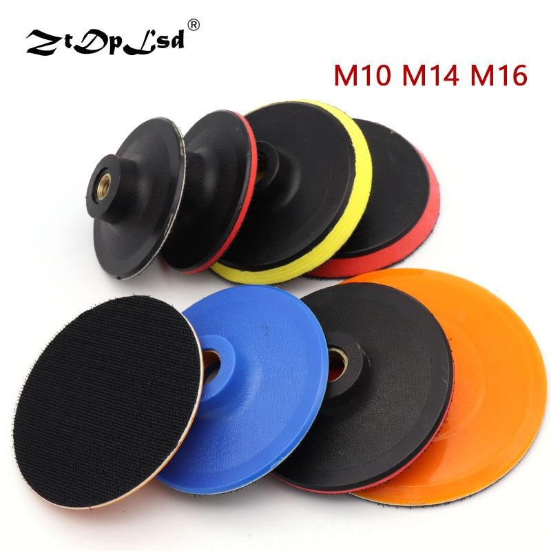 1pcs موضوع flocking sandpaper padack M10 M14 M16 خود چسب شن و ماسه دیسک پشتیبانی قدرت سنباده قطعات صافکاری مکش