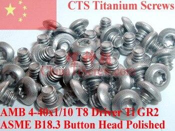 Tornillos de titanio 4-40x1/10 botón Torx cabeza T8 conductor Ti GR2 pulido 50 piezas