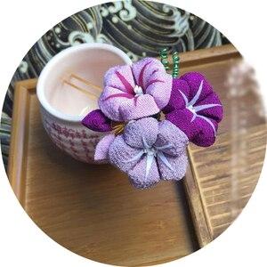 kimono flowers Japanese style Morning glory bride headwear cosplay hair sticks accessory