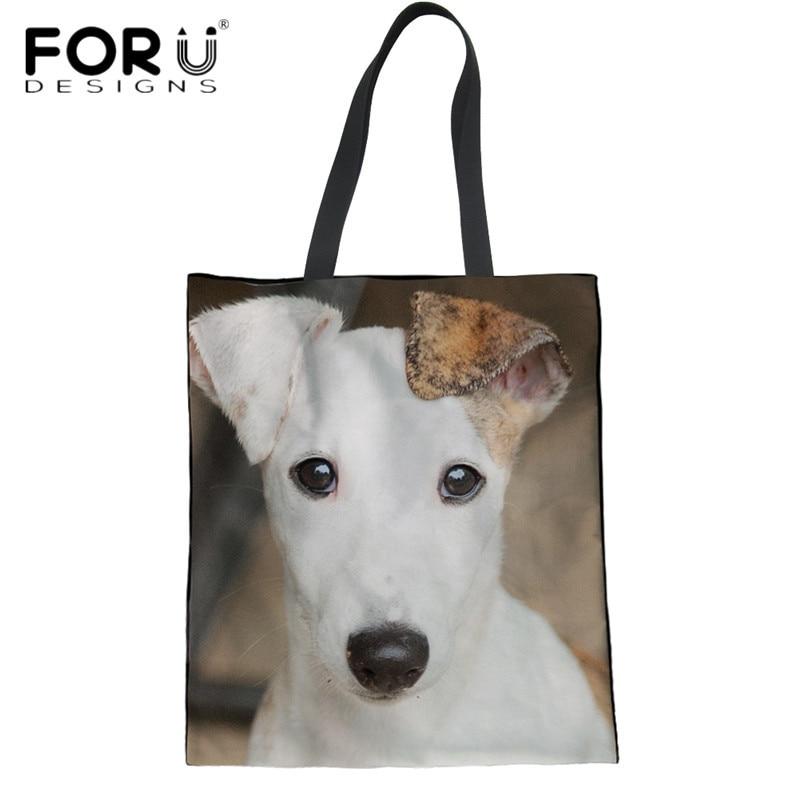 FORUDESIGNS bolso de compras grande de moda para mujeres Kawaii Animal Whippet perro patrón 3D verde reutilizable Bolsa de comestibles Casual Bolsa de playa