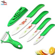 """FINDKING regalos de belleza Zirconia luz verde cocina cerámica cuchillo de fruta Set 3 """"4"""" 5 """"6"""" pulgadas con flor pintada + pelador + Fundas"""