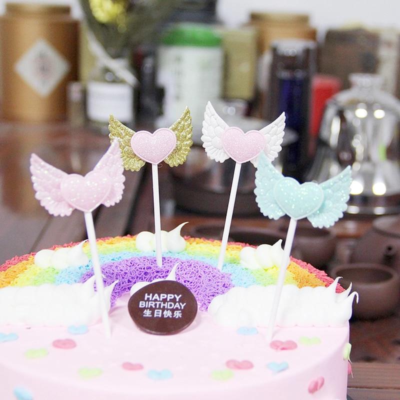 Creative 1 Uds decoraciones para fiesta de cumpleaños torta inserta tarjeta alas de Ángel postre productos Rosa Blanco azul oro