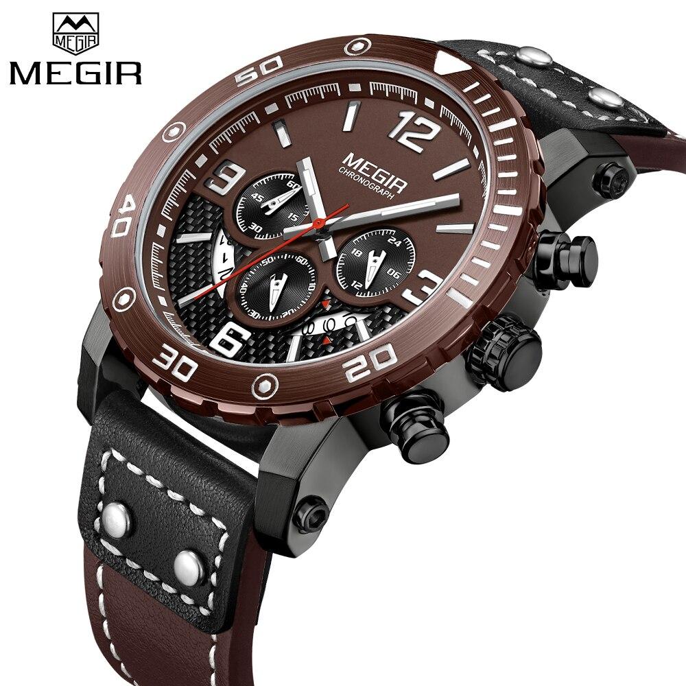 Cronógrafo de Quartzo dos Homens do Esporte Relógio de Pulso de Couro Militar do Exército Megir Relógio Relógios Business Casual Homens Criativo