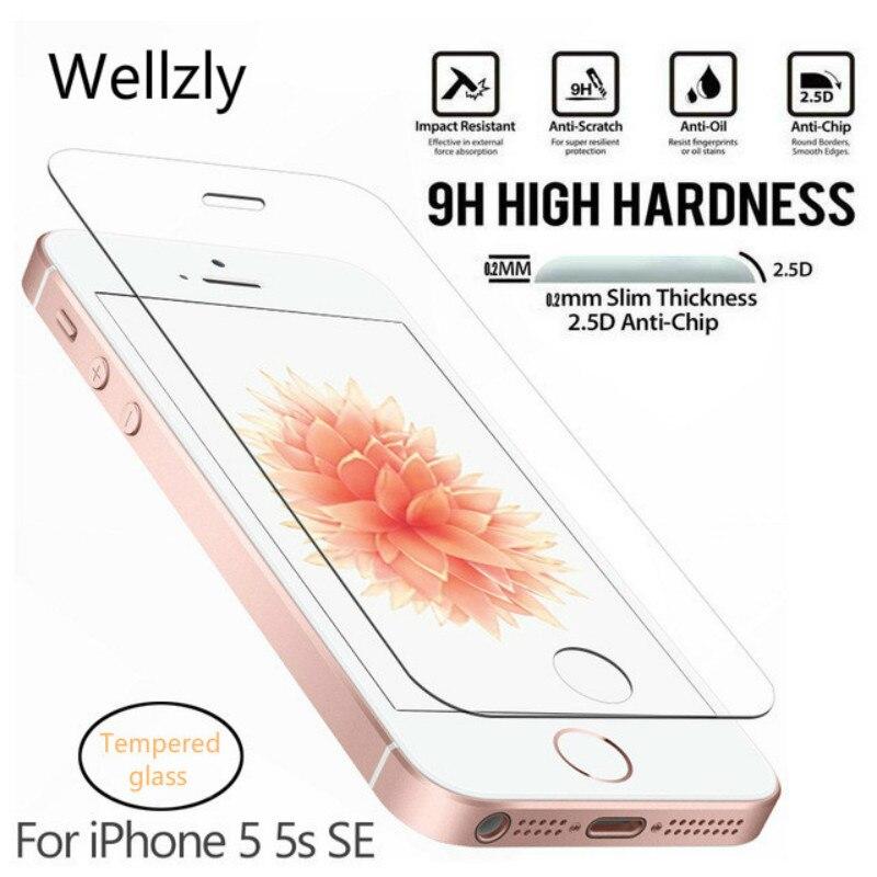 Wellzly 0,26mm 2.5D vidrio Protector para iPhone 5S vidrio templado para iPhone 5 SE Protector de pantalla en película de vidrio templado 9H HD