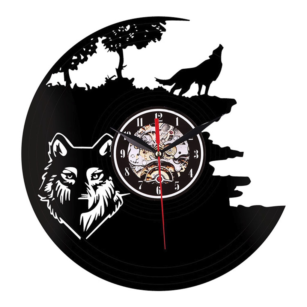 Reloj de pared de vinilo Lobo animales salvajes LED negro colgante LP Vintage iluminado decoración del hogar arte regalo hecho a mano horloge murale