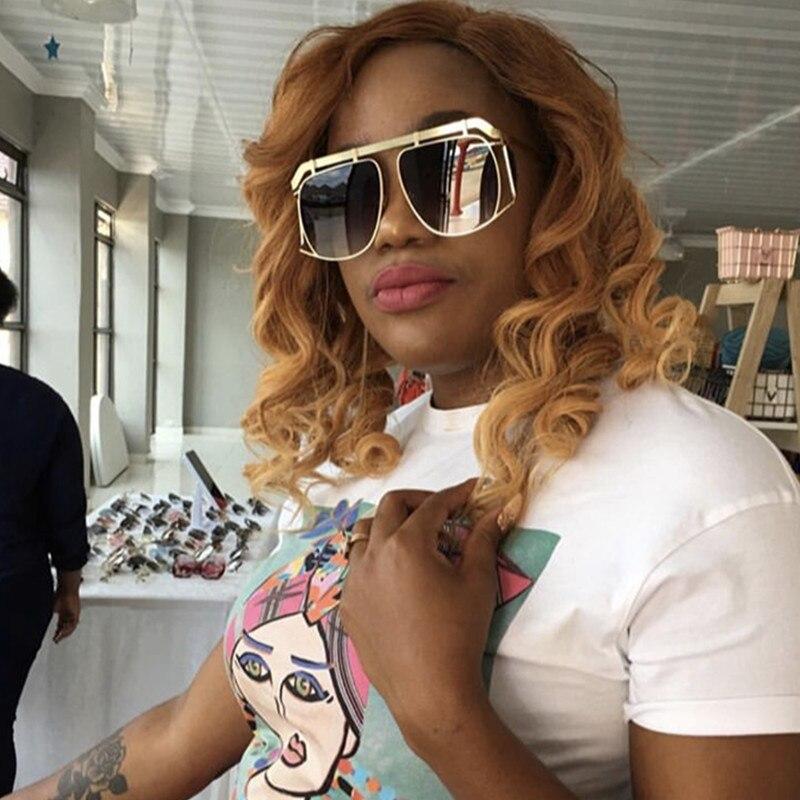HBK Pilot Square Sunglasses Unisex Big Frame Women Men Brand Designer 2018 New Fashion Trendy Eyewear Gradient Lens UV400