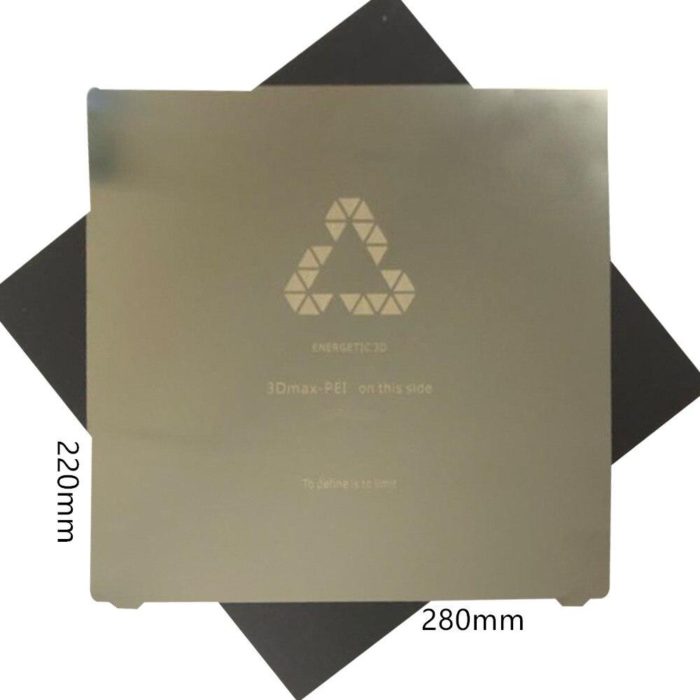 Flexbed nova atualização 220x280mm primavera folha de aço cama calor aplicado pei + etiqueta magnética para extra grande tevo tarântula impressora 3d