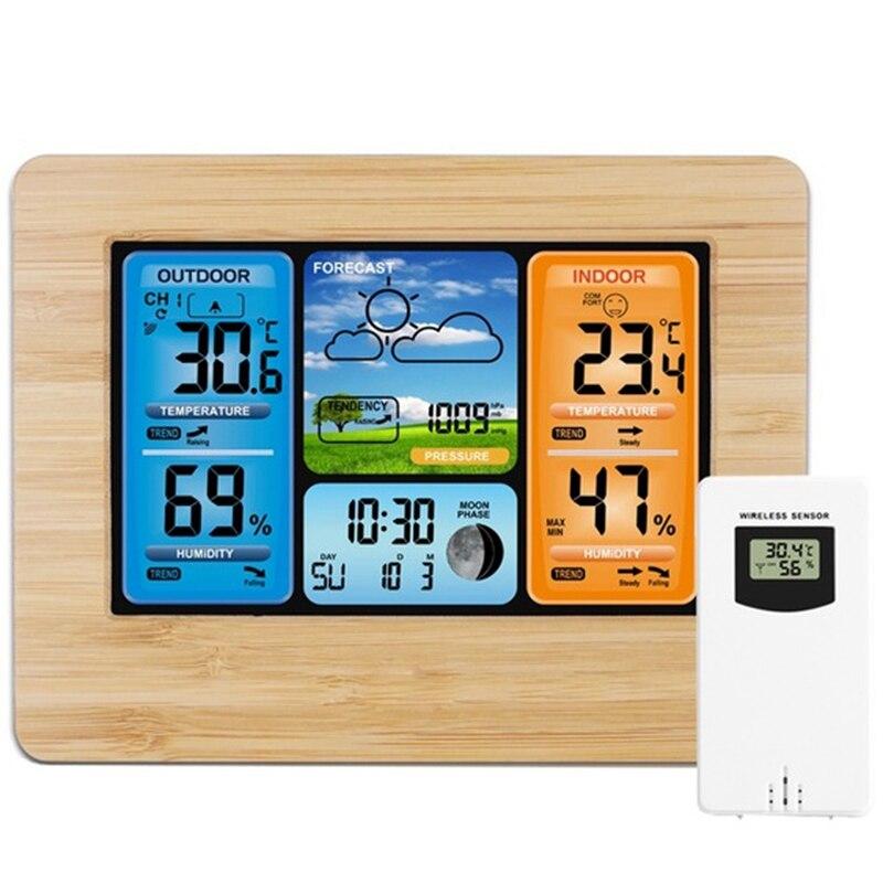Calidad estación meteorológica Digital termómetro higrómetro barómetro inalámbrico y Sensor Monitor Lcd pronóstico del tiempo Interior Exterior