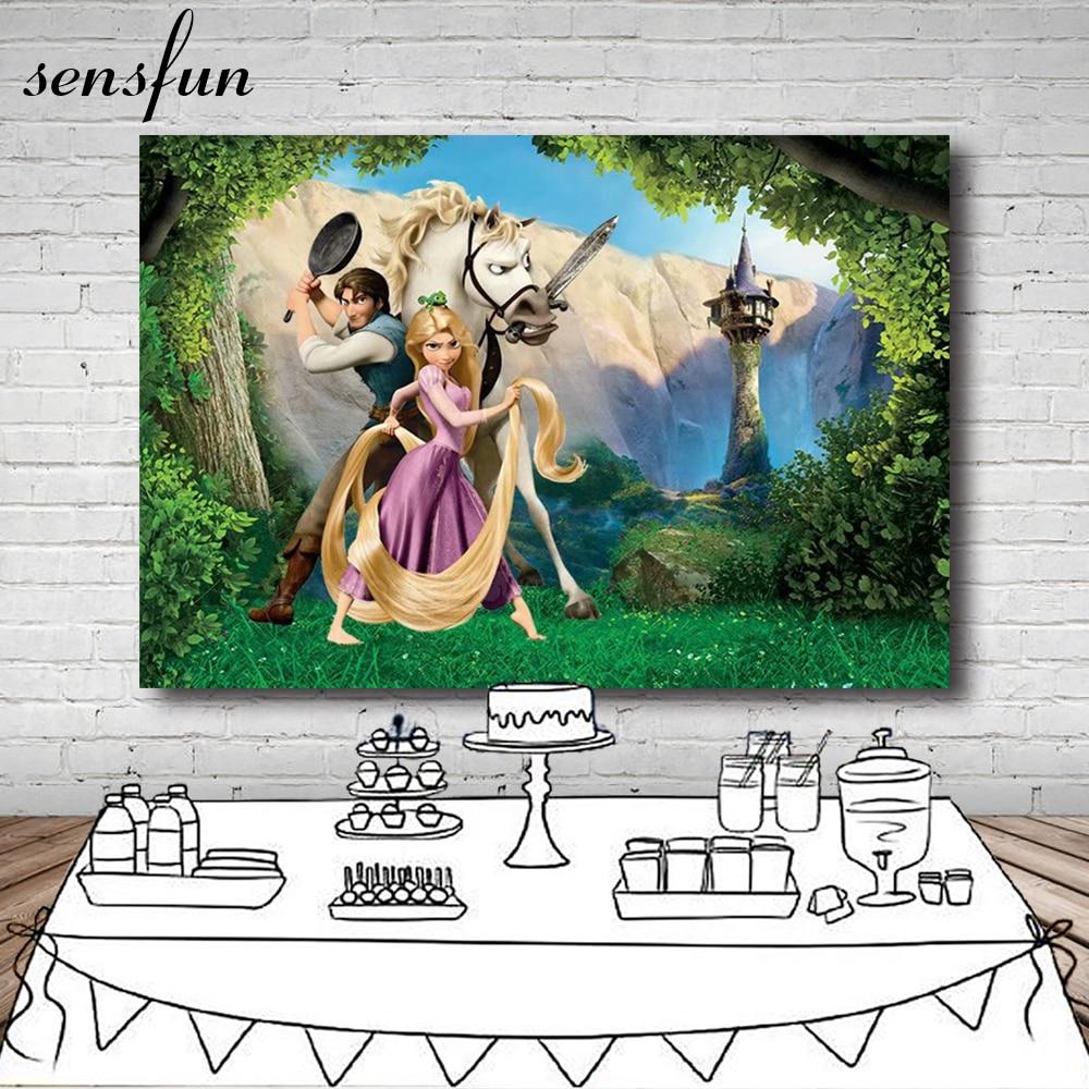Fondo de caballo Sensfun Forest Rapunzel enredado princesa Prince fondo de fiesta de cumpleaños para estudio fotográfico 7x5FT vinilo poliéster
