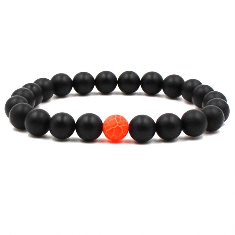 Модный натуральный камень матовый браслет с черными бусинами мужской браслет на удачу Оранжевые Бусины с трещинами мужской браслет ювелирный подарок