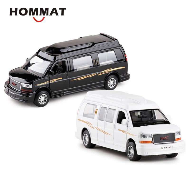 Simulación HOMMAT 132 GMC Savana, camioneta de pasajeros, coche de aleación Diecast, modelo de colección de Metal, regalo para niños, coches, juguetes para niños