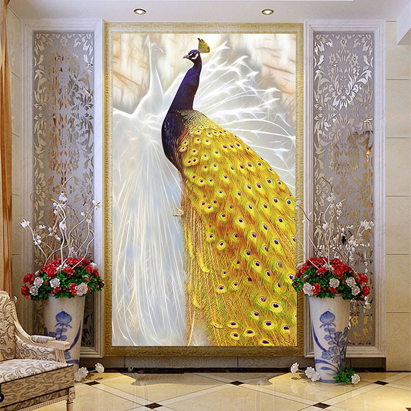 Papel pintado de foto personalizado estilo europeo oro Pavo Real Mural estilo chino sala de estar pasillo de entrada decoración del hogar 3D pintura de pared