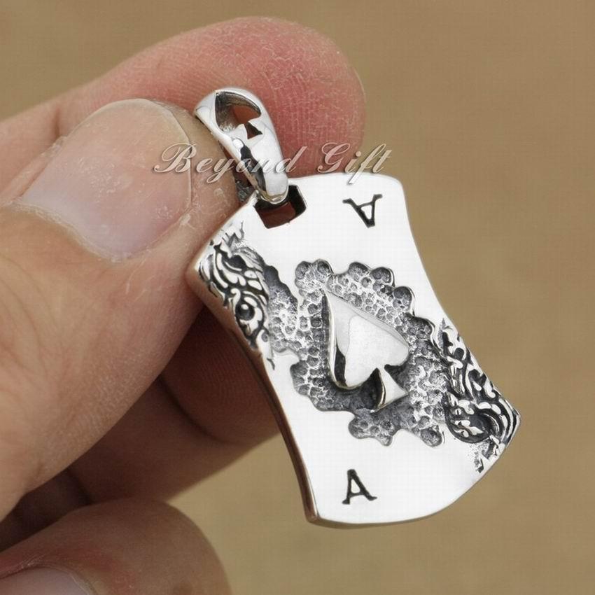 قلادة من الفضة الإسترليني عيار 925 بتصميم البستوني ، مجوهرات عصرية ، 9R008
