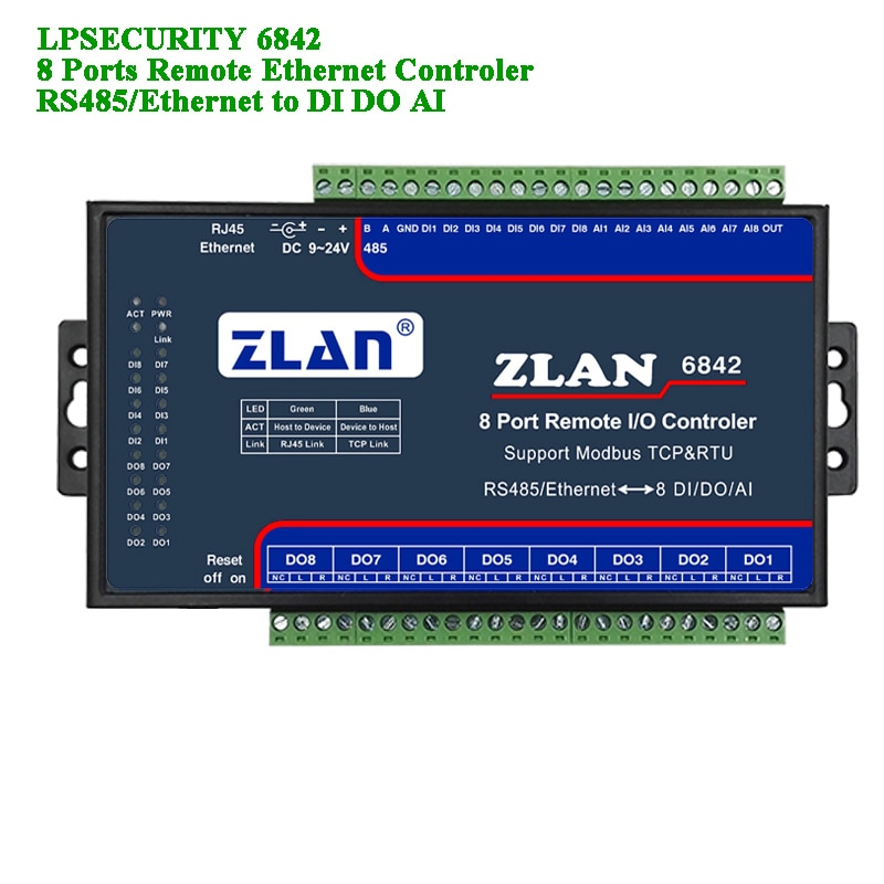 جهاز تحكم IO عن بعد مع 8 منافذ ، RS485/Ethernet إلى DI DA AI Modbus RTU TCP ، إدخال رقمي ، خرج 8 قنوات ، وحدة I/O متعددة التسلسل