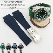 20mm 21mm haute qualité en caoutchouc Silicone Bracelet de montre Camouflage noir Bracelet de montre pour rôle deep sea Daytona Submariner GMT Bracelet