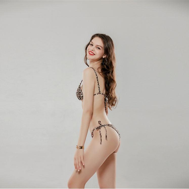 LaFata Bikini Set Leopard Print Padding Strap Top Sexy Cheeky High Wait High Leg Triangle Swimsuit Two Piece
