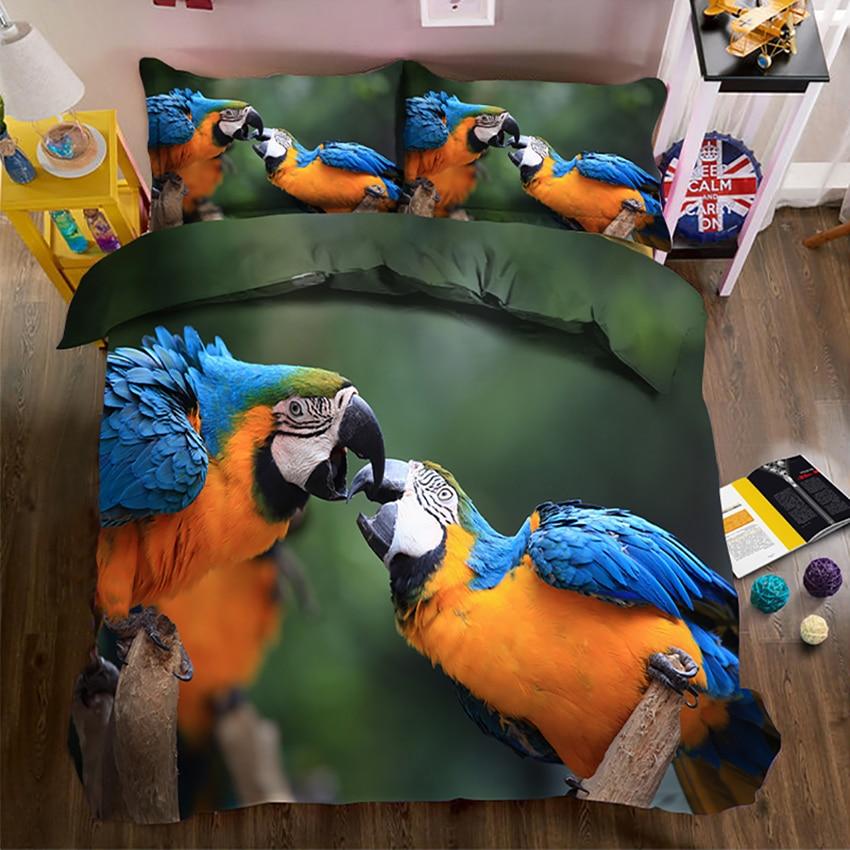 Jogo de cama Rainha rei cheio de Dois papagaios 3D juego de cama California king cama Fronha capa de Edredon lençol