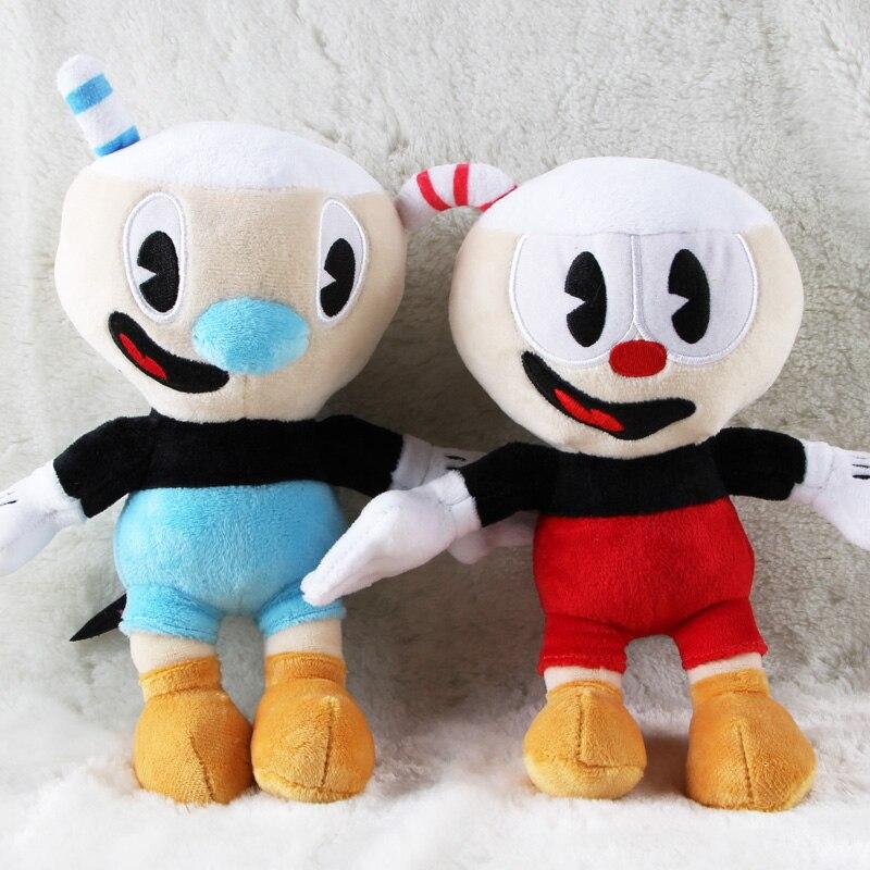 2 unids/lote 25cm Cuphead Mugman el diablo legendario cáliz peluches Cuphead peluche suave peluches muñeca para niños regalos