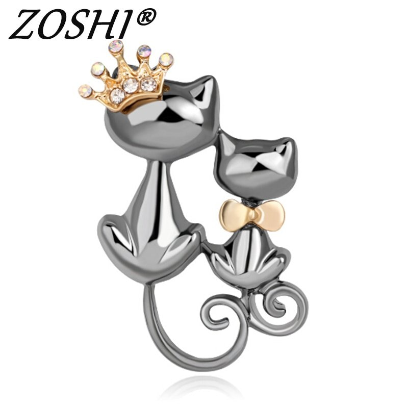 Rhinestone Esmalte Raposa Bonito Broches Liga das Mulheres Dos Homens Ternos Banquete Vestido Animal Crown Pinos Broche Broche de Presente de Alta Qualidade