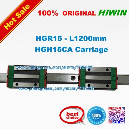 100% original HIWIN marca lineal Guide1lot 2 piezas HGR15 L = 1200mm carril con 4 piezas HGH15CA transporte