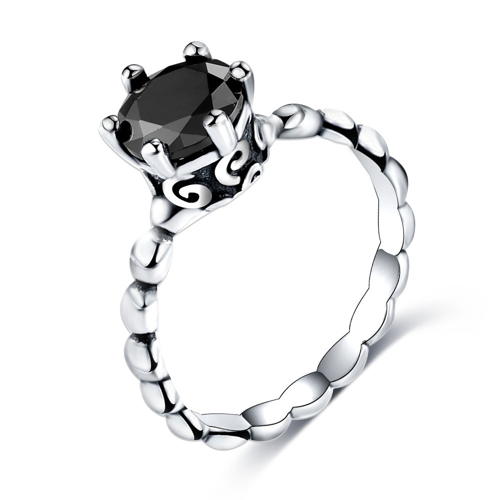 Cuteeco 2019 nuevo plata Color dedo anillo Pan anillo con Zirconia cúbica negra para las mujeres de moda regalos de joyería para boda
