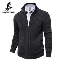 Pioneer Camp hommes chandails tricoté cardigan à fermeture éclair mâle de haute qualité marque célèbre vêtements pull de noël