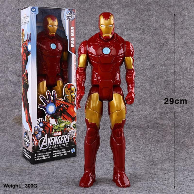Искусственная 30 см аниме игрушка Marvel мстители супергерой Капитан Америка Росомаха Человек-паук Железный человек Тор ПВХ экшн-фигурка модель